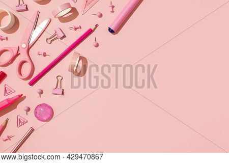 Top View Photo Of Pink Stationery Adhesive Tapes Pushpins Binder Clips Scissors Pencils Felt Pens On