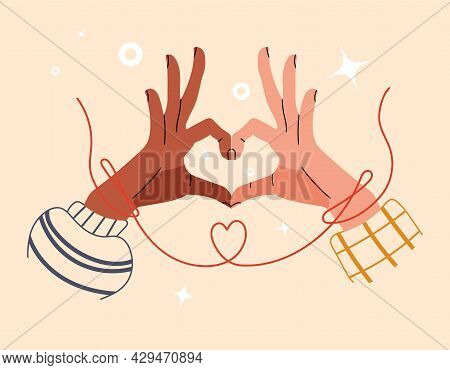 Multinational Hand Of Couple Touch Each Other. Red String Of Fate Or Faith Destiny. Symbol Of Love O