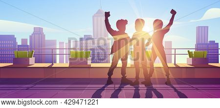 Best Friends Forever, Friendship Concept. Hugging People Silhouettes Stand On Skyscraper Roof With R