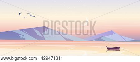 Calm Landscape With Sea And Mountains On Horizon In Morning. Vector Cartoon Illustration Of Nature S