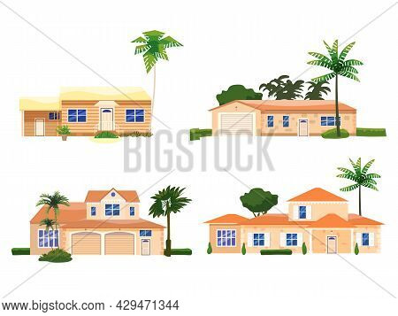 Set Mansion Residential Home Buildings, Tropic Trees, Palms. House Exterior Facades Front View Archi