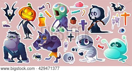 Halloween Stickers With Ghost, Zombie, Pumpkin Jack, Mummy And Werewolf. Vector Cartoon Set Of Scary