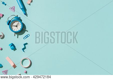 Top View Photo Of Bicolor Blue And Pink Stationery Felt Pen Binder Clip Pushpins Adhesive Tape And A