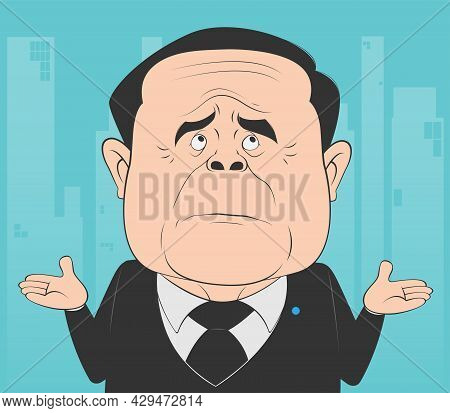 Old Businessman Expressing Gesture That He Does Not Know The Answer. Cartoon Man Disinterested In Ro