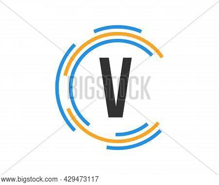 Technology Logo Design With V Letter Concept. V Letter Technology Logo