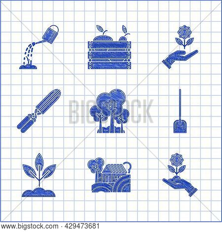 Set Trees, Farm House Concept, Hand Holding Flower, Shovel, Plant, Gardening Handmade Scissors For T