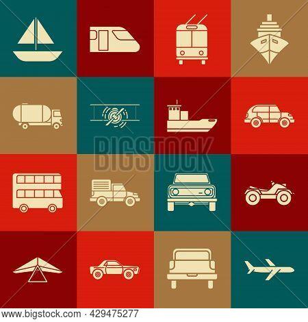 Set Plane, All Terrain Vehicle Or Atv Motorcycle, Hatchback Car, Trolleybus, Old Retro Vintage Plane