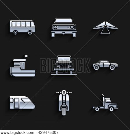 Set Car, Scooter, Delivery Cargo Truck Vehicle, Sedan, Train, Fishing Boat, Hang Glider And Bus Icon