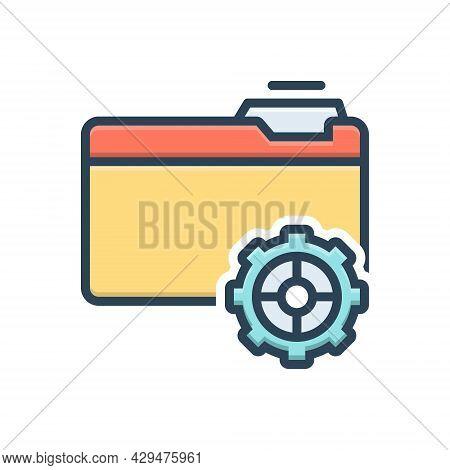 Color Illustration Icon For Setup Provision Setup Organisation Data File Folder