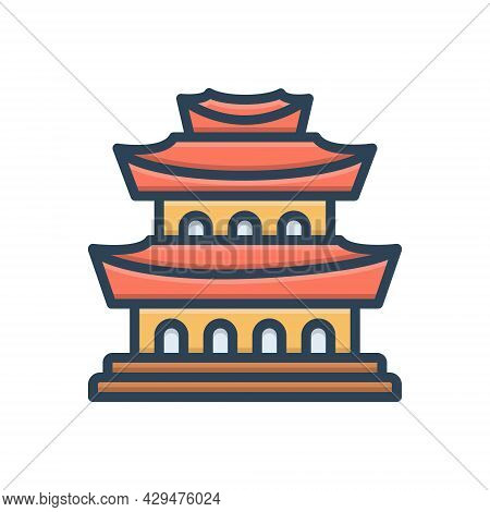 Color Illustration Icon For China Chinatown Town Tourism Portland Building Cityscape