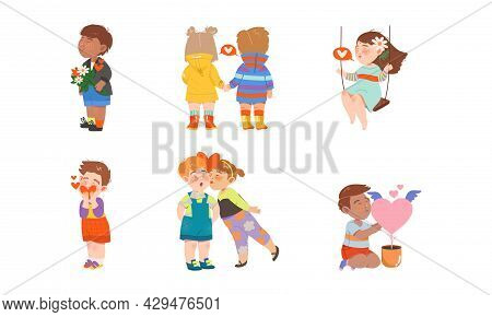Little Boy And Girl Feeling Love And Affection Holding Hands And Kissing Vector Set