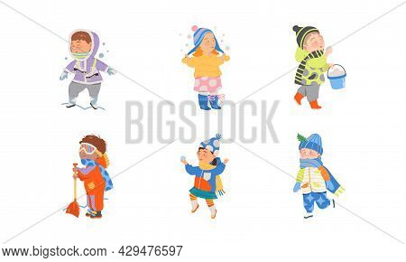 Excited Children Playing Snowball Fight And Walking Outdoor Vector Set