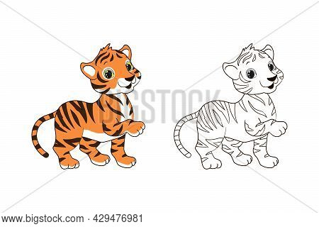 Coloring Page For Children, Little Striped Tiger Cub. Vector Illustration In Cartoon Style, Isolated