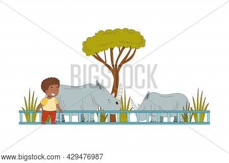 Happy Little African American Boy Looking At Rhino Behind Enclosure At Zoo Vector Illustration