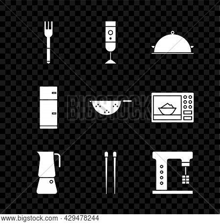 Set Fork, Blender, Covered With A Tray Of Food, Moka Pot, Food Chopsticks, Electric Mixer, Refrigera