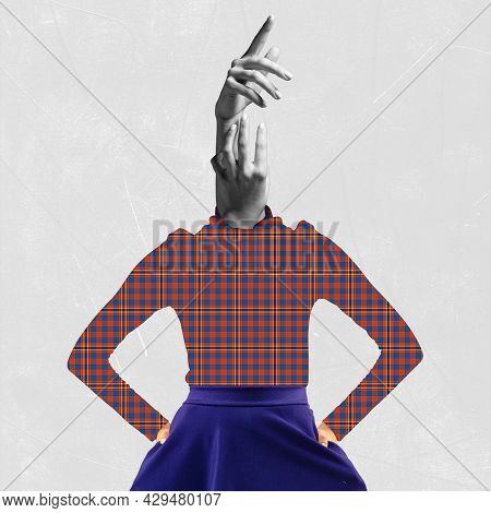 Creative Artwork. One Slim Woman In Checkered Shirt Headed With Bw Hands Over Grey Background