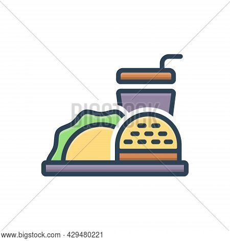 Color Illustration Icon For Food Meal Edible Eatable Comestible Pabulary Fast-food  Fast Restaurant