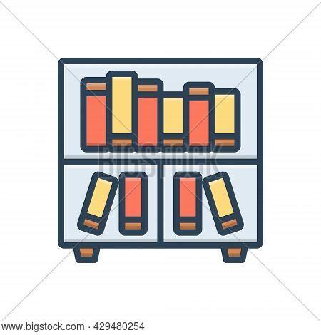 Color Illustration Icon For Library Books Files Folder Shelf Bookshelf Education Encyclopedia Collec