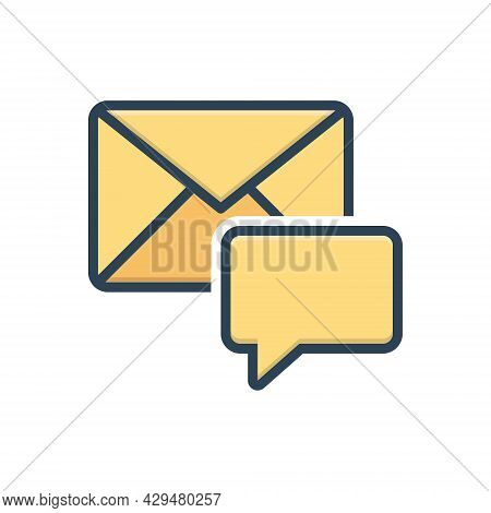 Color Illustration Icon For Message Inbox Communication Envelope Reminder  News Communication Dialog