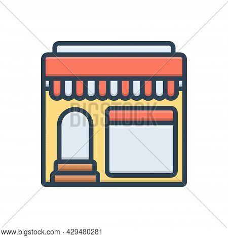 Color Illustration Icon For Restaurant Shop Cafe Food Mess Canteen Restaurateur