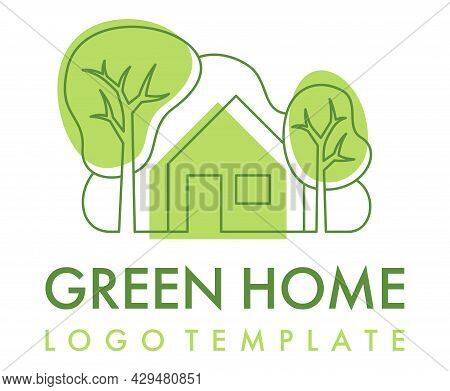 Green Home Logo Template In Thin Line Style - House Designed To Be Environmentally Sustainable Bulid
