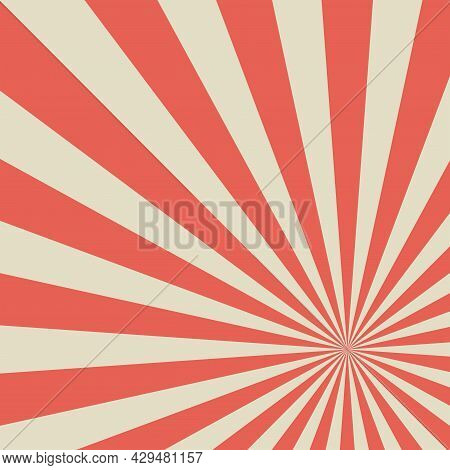 Sunlight Retro Faded Horizontal Background. Pale Red And Beige Color Burst Backdrop. Fantasy Vector