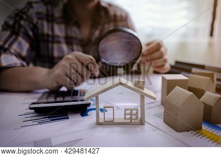 Concept Of Real Estate House Appraisal And Inspection. House Realtor Agent Checking Home.