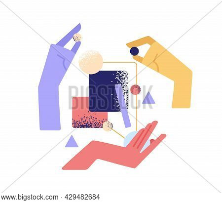 Teamwork, Partnership And Interaction Concept. Hands Interacting And Building Business System. Team
