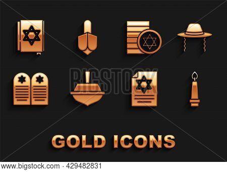 Set Hanukkah Dreidel, Orthodox Jewish Hat, Burning Candle, Torah Scroll, Tombstone With Star Of Davi