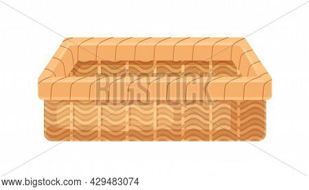 Straw Wicker Basket Of Rectangular Shape. Empty Woven Container Without Lid. Realistic Interior Item