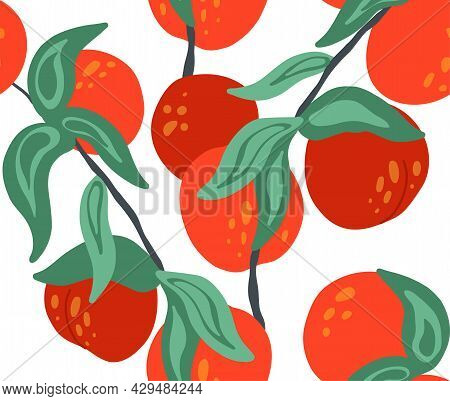 Seamless Flat Texture With Nectarines On Branches With Foliage On White Background. Cartoon Pattern