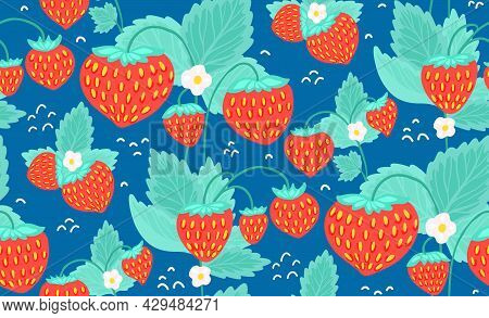 Original Seamless Pattern With Strawberries, Green Foliage And Small White Flowers On Blue Bacground