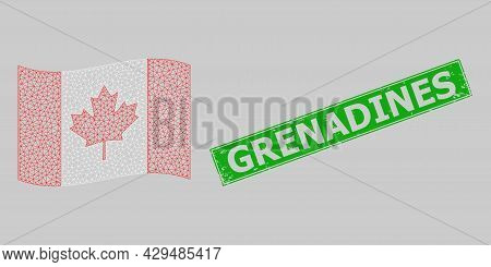 Mesh Polygonal Waving Canada Flag And Distress Grenadines Rectangle Badge. Abstraction Is Designed O