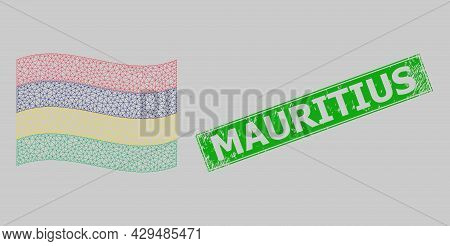 Mesh Polygonal Waving Mauritius Flag And Distress Mauritius Rectangle Stamp Seal. Carcass Model Is D