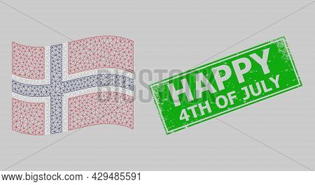 Mesh Polygonal Waving Norway Flag And Distress Happy 4th Of July Rectangle Stamp. Model Is Designed