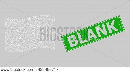 Mesh Polygonal Waving White Flag And Grunge Blank Rectangle Seal. Abstraction Is Designed On Waving