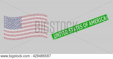 Mesh Polygonal Waving Usa Flag And Scratched United States Of America Rectangle Seal. Abstraction Is