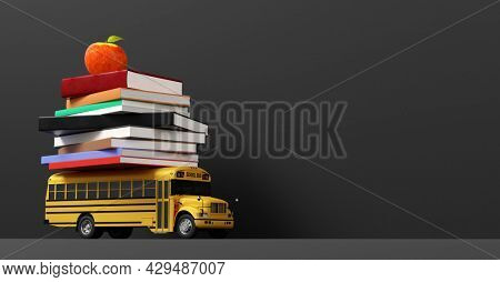 Back to school. Empty blackboard and yellow school bus toy with books 3D illustration