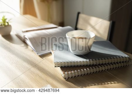 Planner Write Meeting Agenda At Calendar Book, Work At Home. Diary For Organizer To Plan Timetable,
