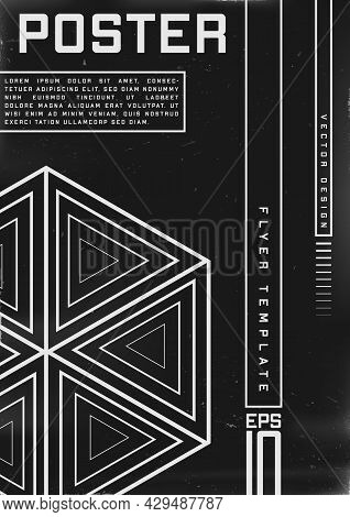 Retrofuturistic Poster Design. Cyberpunk 80s Style Poster With Hexagon Geometry Shape With Consist O