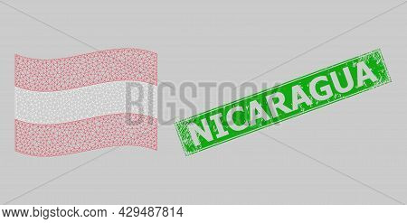 Mesh Polygonal Waving Austria Flag And Scratched Nicaragua Rectangle Seal. Model Is Based On Waving