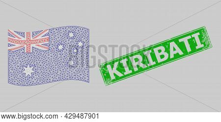 Mesh Polygonal Waving Australia Flag And Distress Kiribati Rectangle Stamp Seal. Model Is Designed O