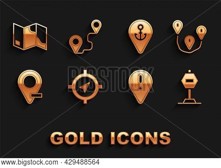 Set Compass, Route Location, Stop Sign, Location With Exclamation Mark, Anchor, Folded Map And Icon.