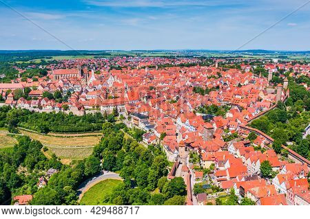 Rothenburg Ob Der Tauber, Germany. Aerial View Of The Medieval Old Town.
