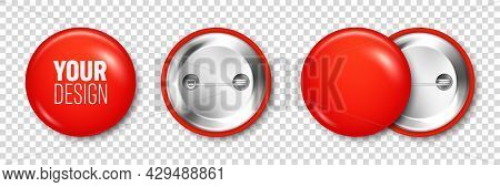 Realistic Red Blank Badge. 3d Glossy Round Button. Pin Badge Mockup. Vector Illustration.