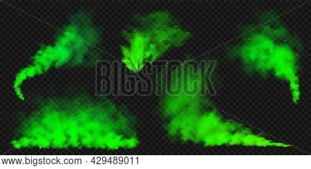 Realistic Green Colorful Smoke Clouds, Mist Effect. Colored Fog On Dark Background. Vapor In Air, St