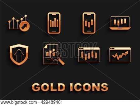 Set Document With Graph Chart, Stocks Market Growth Graphs, Graph Infographic, Browser Stocks, Finan