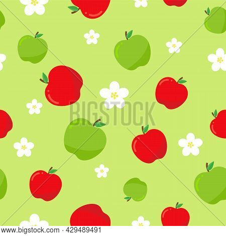 Fruit Wallpaper With Chaotic Apples. Vector Seamless Pattern.