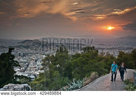 Athens, Greece -  October 12, 2012,  People On Panoramic View Of Athens From Mount Lycabettus, Athen