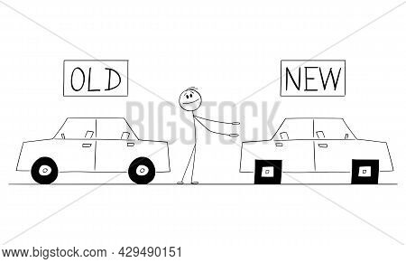 Car Dealer Or Salesman Offering Car With Square Wheels, New Is Worst Than Old Vector Cartoon Stick F